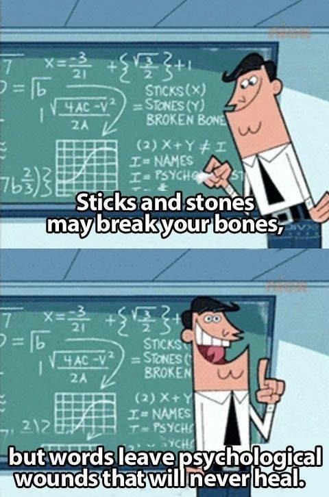 Words-Hurt sticks and stones break bones