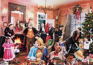 victorian_christmas room decorated for christmas