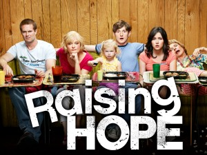 RAISING HOPE: The Chance family returns in the Season Three premiere of RAISING HOPE airing Tuesday, Oct. 2 (8:00-8:30 PM ET/PT) on FOX. (Pictured L-R: Garret Dillahunt, Martha Plimpton, Baylie/Rylie Cregut, Lucas Neff, Shannon Woodward and Cloris Leachman ) ©2012 Fox Broadcasting Co. Cr: Matthias Clamer/FOX